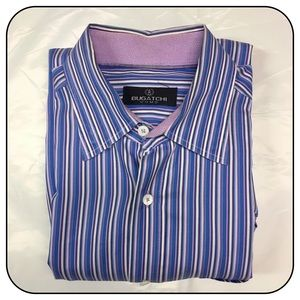 Bugatchi Large Purple/Blue/White Striped Shirt